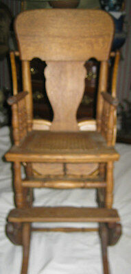 Primitive Antique Wicker Baby High Chair Rocker Stroller Cast Iron Toy Wheels 9