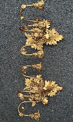 Antique C1900 Gold Gilded Carved Wood & Metal Italian Leaf Form Wall Sconces 3
