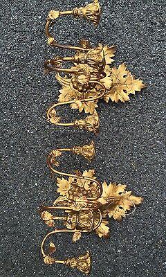 Antique C1900 Gold Gilded Carved Wood & Metal Italian Leaf Form Wall Sconces 3