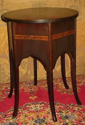 Vintage Mahogany Plant Stand Lamp Table Display Stool Round Top 6-Panel Sides 5
