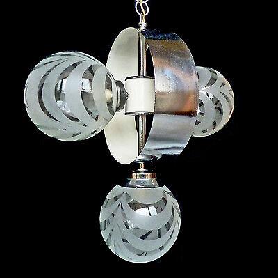 Vintage Mid-Century Italian Chrome Atomic Space Age Sputnik Orbit Chandelier 10