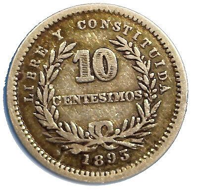 URUGUAY Silver 1893 No Mint Mark 10 Centesimos RARE  KM# 14