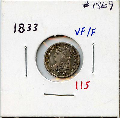1833 H10C Capped Bust Silver Half Dime. Circulated. Lot  #1561
