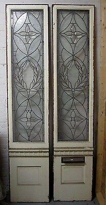 Monumental 9 Ft. Pair Beveled Antique Glass Door Side- Lites W/10 Jewels # 531 4