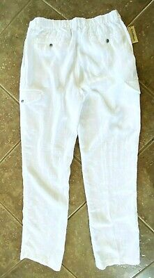 Caribbean 100/% Linen Cargo Pants Mens 36 x 32 White w// Elastic Waist NWT $79