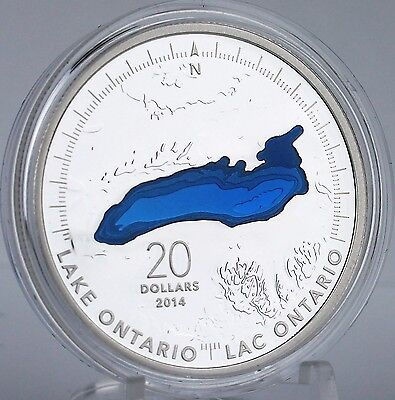 Canada 2014 Lake Ontario $20 1 oz Pure Silver Enameled Proof Coin Great Lakes #2 7