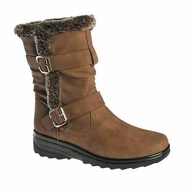 NEW LADIES MID CALF FUR WARM GRIP SOLE SNOW BOOTS WOMENS FASHION WINTER SHOES sz