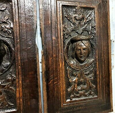 16 th Pair renaissance portrait panel Antique french oak architectural salvage 9