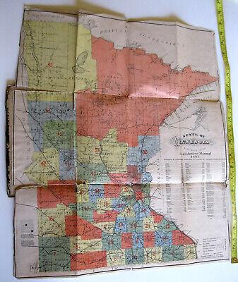 Original 1883 Pocket Map of Minnesota published St Paul Legislative Manual as is 2