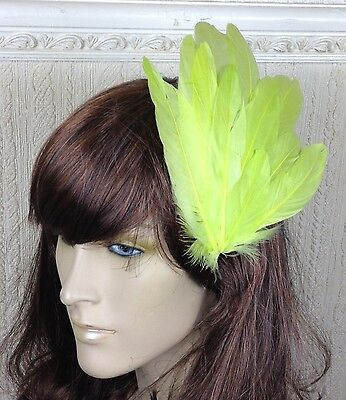 yellow green feather fascinator millinery hair clip wedding piece ascot race 2