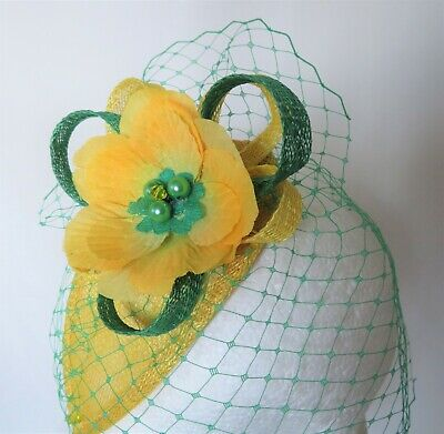 Canary Daffodil Yellow & Emerald Green Fascinator Headpiece Wedding Ascot Races 9