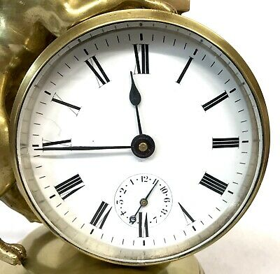 Stunning Antique Brass Griffin Novelty Desk Thermometer And Alarm Clock 7