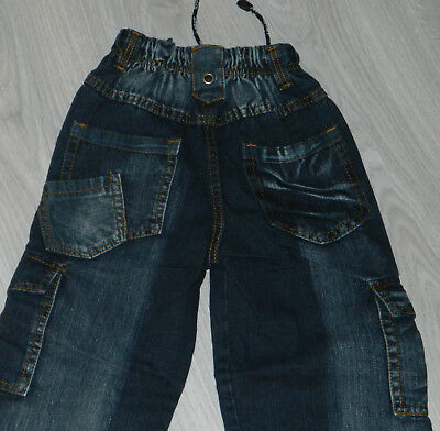 Jeans Pantalon Noir Delave Taille Elastique Multipoches 8 Ans  Neuf 5