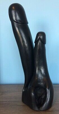 Huge Antique Wood Double Phallus Fertility Display Piece From Burma. 45cm High 8