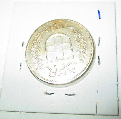 Switzerland 5 Francs Silver 1953 William tell  Shield flanked by sprigs #1 2