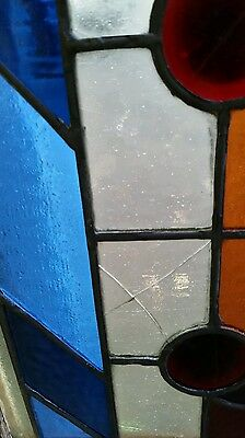 Antique Eastlake Victorian stained glass window. 11