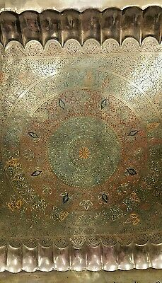 """ANTIQUE LARGE SIZE BRASS, Copper TRAY 45 """"×45"""" HAND CARVED & HAND PAINTED ENAMEL 4"""