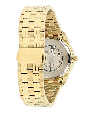 Bulova Men's 97A132 Automatic Open Heart Black Dial GoldTone Bracelet 42mm Watch 5