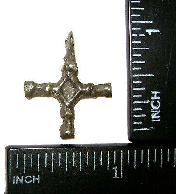 Ancient Rare Vikings Age bronze cast cross pendant. Kievan Rus 4