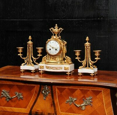 Ormolu and Marble Boudoir Antique French Clock Set by Vincenti C1860 2