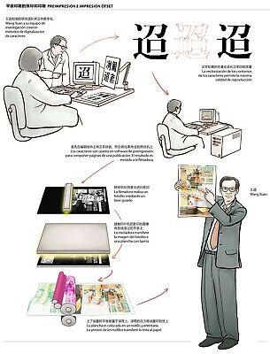 Cuadro caracteres chinos grabados sobre madera 9