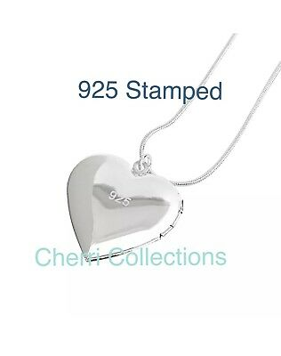 """925 Sterling Silver Heart Necklace, Locket Photo Picture Pendant 18""""  N1 5"""