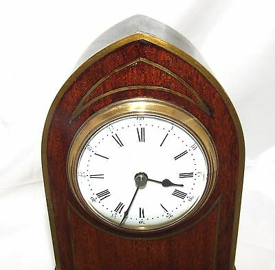 Antique Brass Inlaid Mahogany Miniature Bracket Mantel Clock CLEANED & SERVICED 4