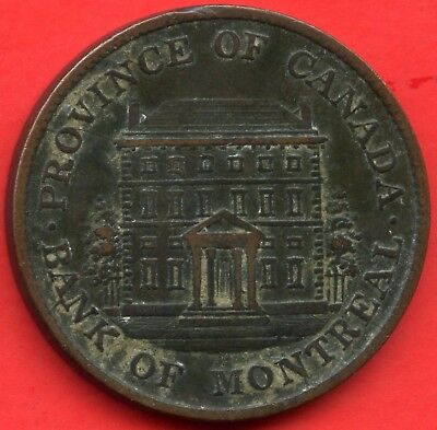 1842 Lower Canada Half Penny Bank Of Montreal Coin Token Tall Trees