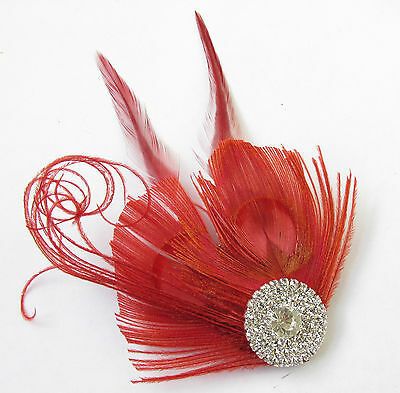 Red & Silver Peacock Feather Fascinator Headpiece Hair Clip Vintage Diamante U16 3