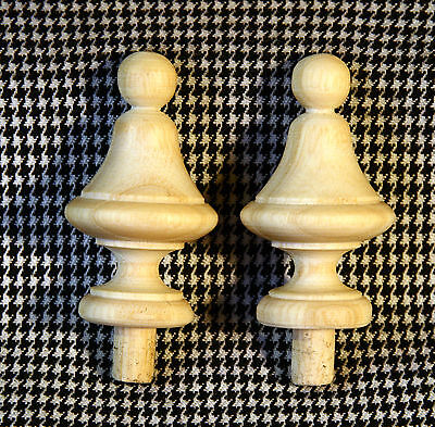 2 Wood FINIALS 49 mm for Antique Wall Clock / Barometer / Mirror / Furniture #7 3