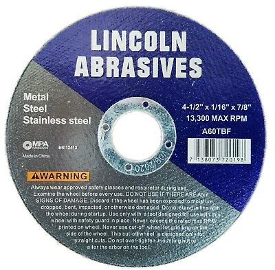 """100 Pack 4-1/2"""" 1/16"""" Cut-off Wheels 4.5 Cutting Discs Stainless Steel & Metal 3"""