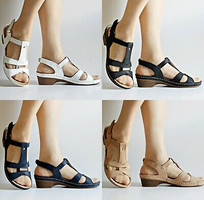 Womens Ladies Mid Low Heel Comfort Cushioned Sole Plus Sizes Sandals Shoes V-916 2