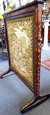 Antique English Inlaid Mahogany Adjustable Firescreen W/French Tapestry.1870 4