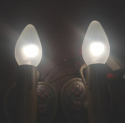 1930's Art Deco Floral Design Sconce Sconces Wired Pair Light Lights Fixtures 4