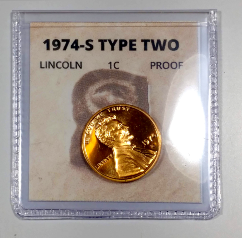 1974-S Lincoln Cent Proof Set of 2 coins (type 1 and type 2) 3