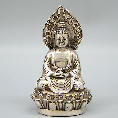 Collectable China Old Miao Silver Handwork Carve Buddha Lotus Auspicious Statue 2