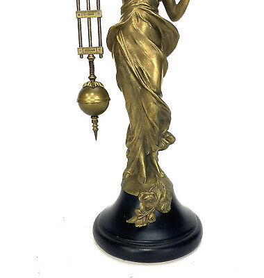 German Style Junghans Brass Diana Lady Figure 8 Day Swinging Swinger Clock 7