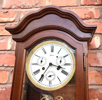 GERMAN Hermle Laterndluhr Vienna Wall Clock 3 Subsidiary Dials DAY DATE MONTH 5
