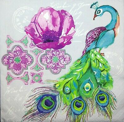 3 x Single Paper Napkins For Decoupage Craft Tissue Peacock Birds Flowers M496