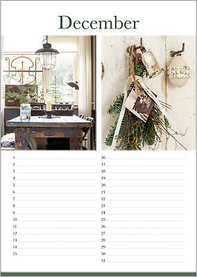 Geburtstagskalender *immerwährender Dauerkalende** Shabby Chic Vintage Style A4