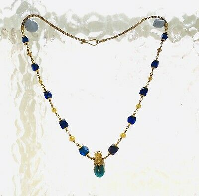 BEAUTIFUL Ancient Roman Gold Pendant Necklace With Green And Blue Glass Beads 10