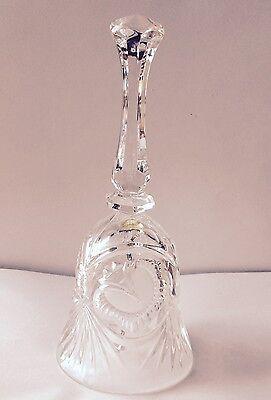 Vintage Cut  Pressed Crystal Hand Bell Floral Pattern Glass Clanger