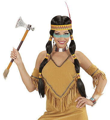 INDIANER PERÜCKE /& KOPFBAND Karneval Apache Häuptling Herren Kostüm Party 93333