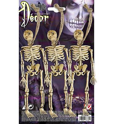 3 STK. HALLOWEEN SKELETT Party Horror Grusel Totenkopf Gerippe Hänge Deko 6878 2