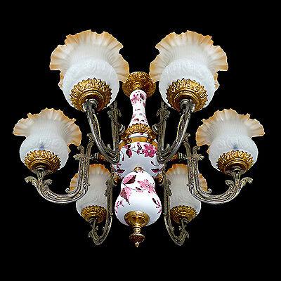 Fabulous Antique 1930 Art Deco/Lalique Art-Glass Style/Porcelain/Gilt Chandelier 9