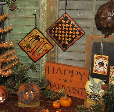 Prim Antique Vtg Style Spooks Ghouls Halloween Chines Checkers Game Board Sign 7