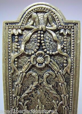 Antique Door Push Plate ornate flame torch ribbons bows floral old brass bronze 3