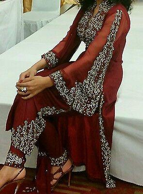 Deep red / Burgundy Silk  Heavy Jewelled Diamante work long kameez/pajama suit 3