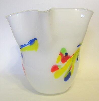 Studio Art Cased Handkerchief Vase Glass Hand Blown White Multicolor 8 to 9 Inch 2