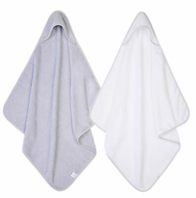 2 x Hooded Baby Towel Soft 100% Cotton Bath Wrap, Grey & White 2